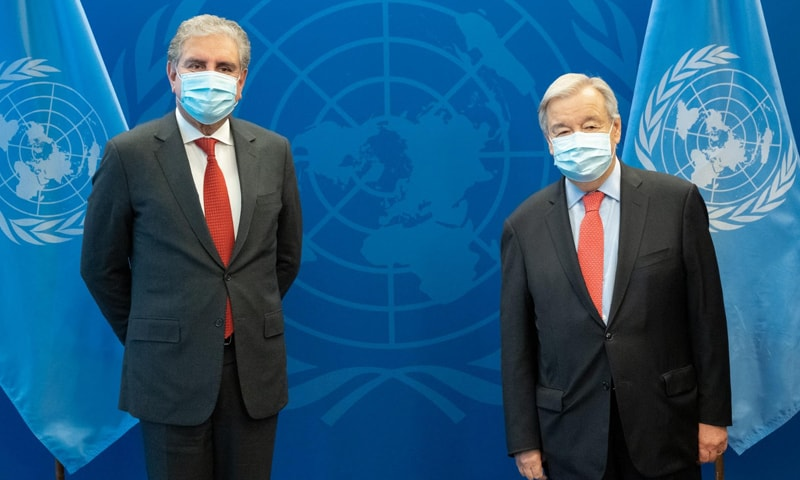 Foreign Minister Shah Mahmood Qureshi meets UN Secretary General Antonio Guterres on the sidelines of the 76th session of the UN General Assembly in New York on Friday. — Photo courtesy: Foreign Office