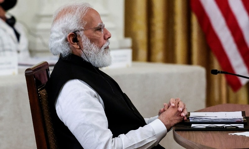 India's Prime Minister Narendra Modi participates in a 'Quad nations' meeting at the Leaders' Summit of the Quadrilateral Framework hosted by US President Joe Biden in the East Room at the White House in Washington on Sept 24. — Reuters
