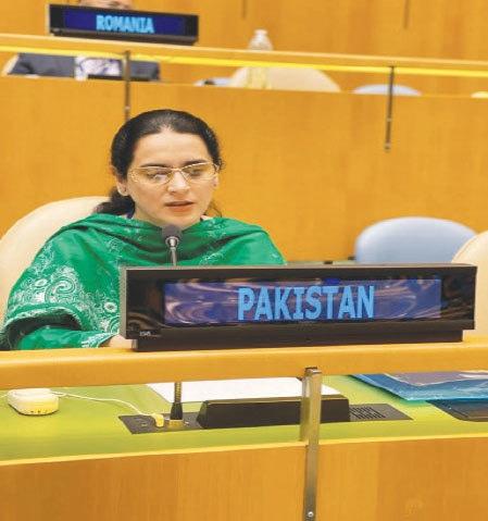 Saima Saleem responding to Indian remarks at the UN.—Dawn