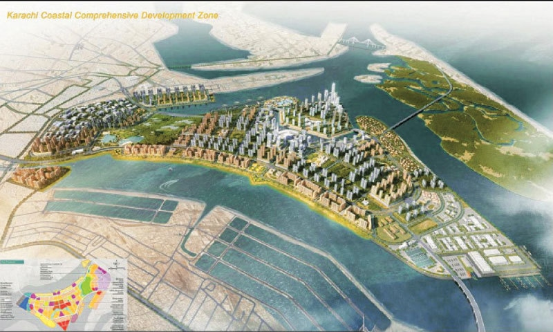 ACCORDING to a model, this is how the Karachi Coastal Comprehensive Development Zone will look after the project's completion on the reclaimed land of KPT. The sketch was shared by federal Maritime Affairs Minister Syed Ali Zaidi.