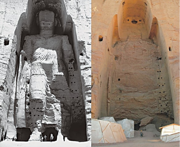 The Bamiyan Buddhas before and after the Taliban attack