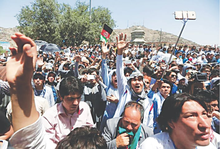A file photo from a protest by Afghan Hazaras in Kabul. The community has historically faced persecution in the country | Reuters
