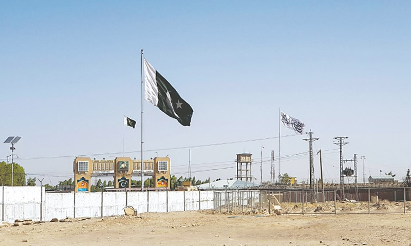 General view of the Chaman border with Pakistan's flag on one end and the Taliban flag on the other   Reuters