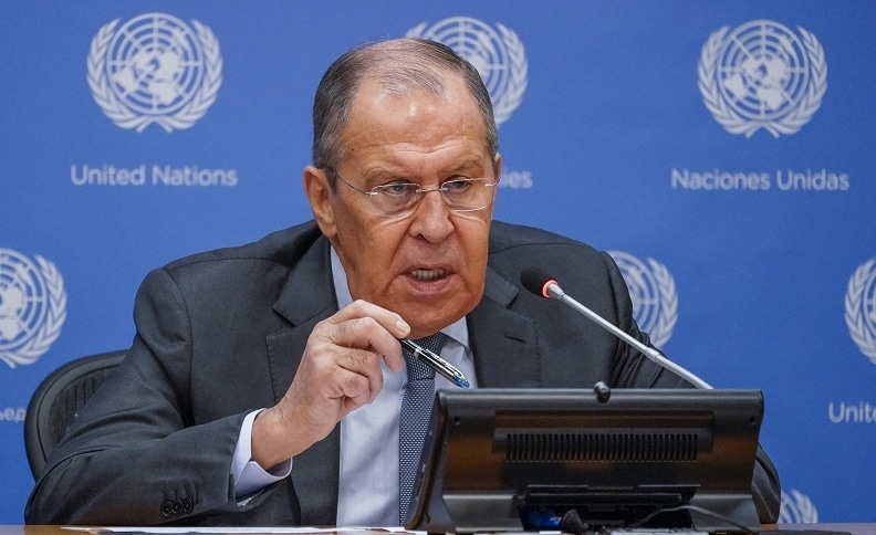 Russian Foreign Minister Sergey Lavrov speaks to reporters at a news conference during 76th session of the United Nations General Assembly on Saturday at UN headquarters. — AP