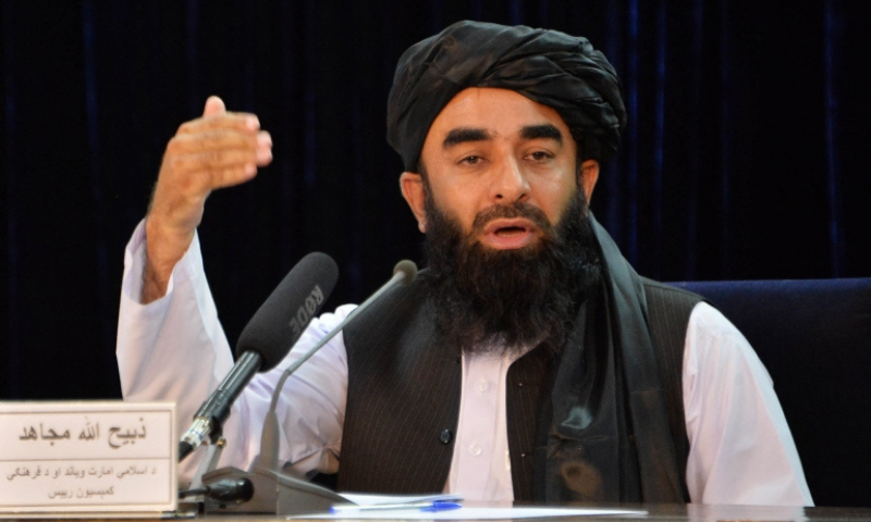 Afghanistan's Acting Deputy Information Minister Zabihullah Mujahid speaks during a press conference in Kabul. — AFP/File