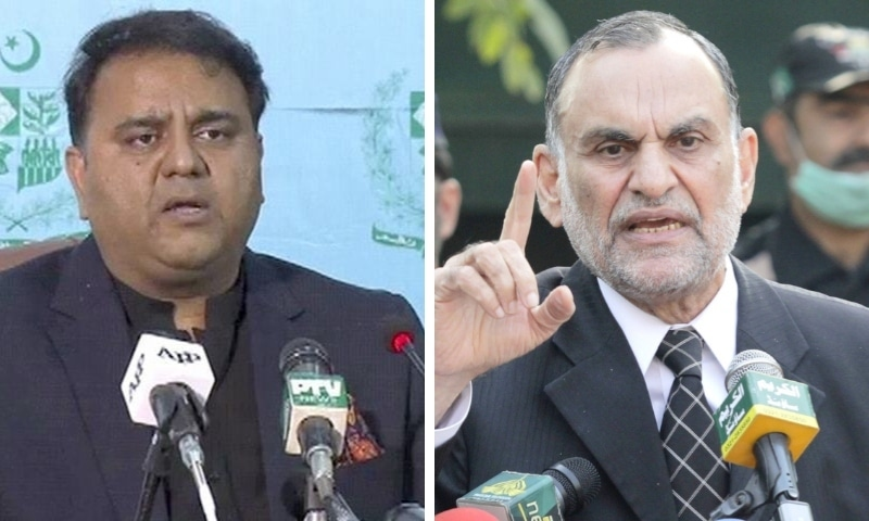 This combo photo shows Minister for Information Fawad Chaudhry (left) and  Minister for Railways Azam Khan Swati. — APP/PID
