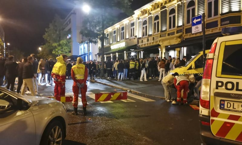 An ambulance takes care of the injured as Norway reopens from the coronavirus restrictions in Trondheim, Norway, Sept 25. — AP