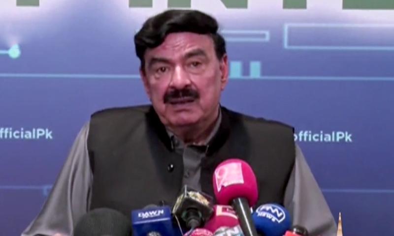 Interior Minister Sheikh Rashid addresses a press conference in Islamabad. — DawnNewsTV
