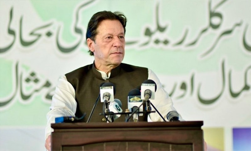 Prime Minister Imran Khan speaks at the groundbreaking ceremony for the Karachi Circular Railway project on Monday. — PTI Twitter