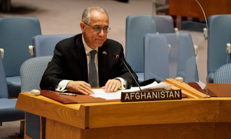 In this file photo, Permanent Representative of Afghanistan to the United Nations\ Ghulam Isaczai speaks during a UN Security Council meeting on Afghanistan on August 16 at the United Nations in New York. — AFP