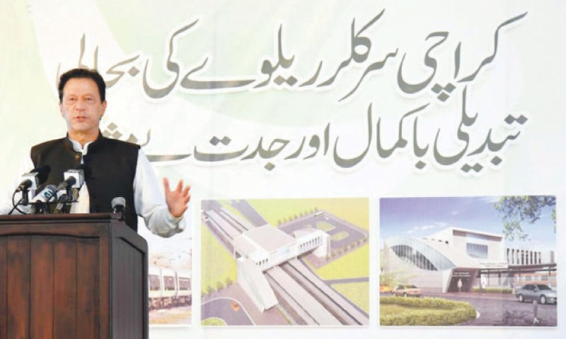 KARACHI: Prime Minister Imran Khan addressing the groundbreaking ceremony of KCR project.—INP