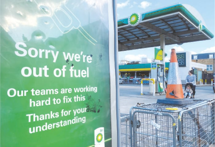 A BP petrol station in London that has run out of fuel.—Reuters