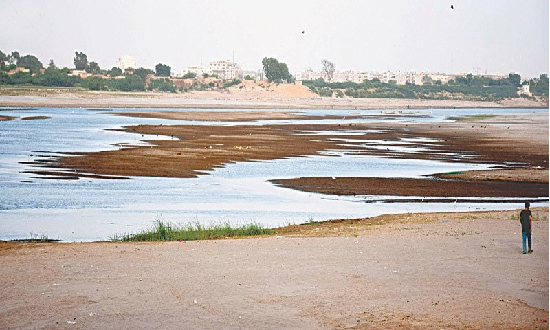 This file photo shows the Indus River at Kotri downstream almost without water.—INP