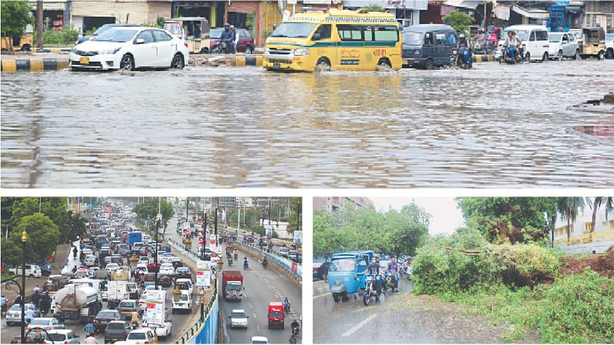 (CLOCKWISE) The road near Grumandir is almost completely submerged by rainwater; a tree got uprooted and fell on a road causing inconvenience to motorists; a number of vehicles stuck in a traffic jam on Sharea Faisal on Monday.—PPI