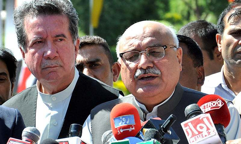 ANP Central General Secretary Mian Iftikhar Hussain talking to media persons in this file photo. — INP/file