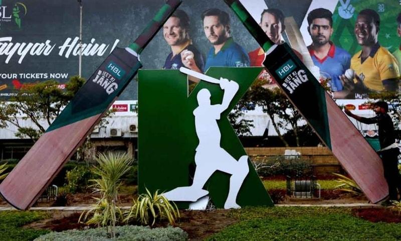 This photo shows a billboard featuring the Pakistan Super League franchises. — AP