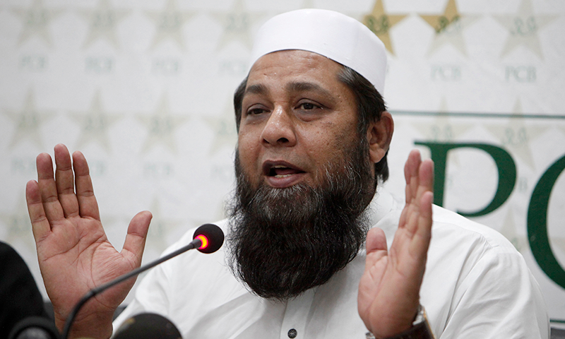 In this file photo, Inzamamul Haq addresses a press conference in Lahore. — AP/File