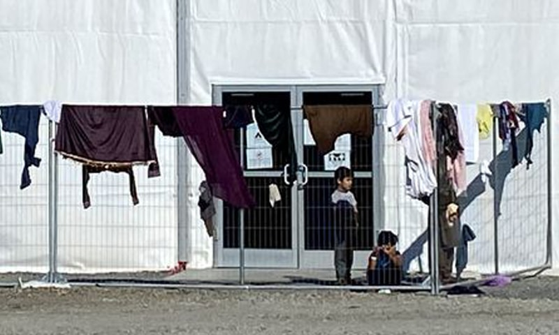A structure housing Afghan evacuees is seen at Joint Base McGuire-Dix-Lakehurst in New Jersey, US. — Reuters