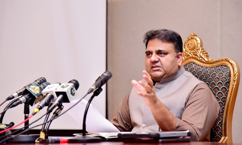 Information Minister Fawad Chaudhry addresses a press conference in Islamabad on Tuesday. — Photo courtesy PID website