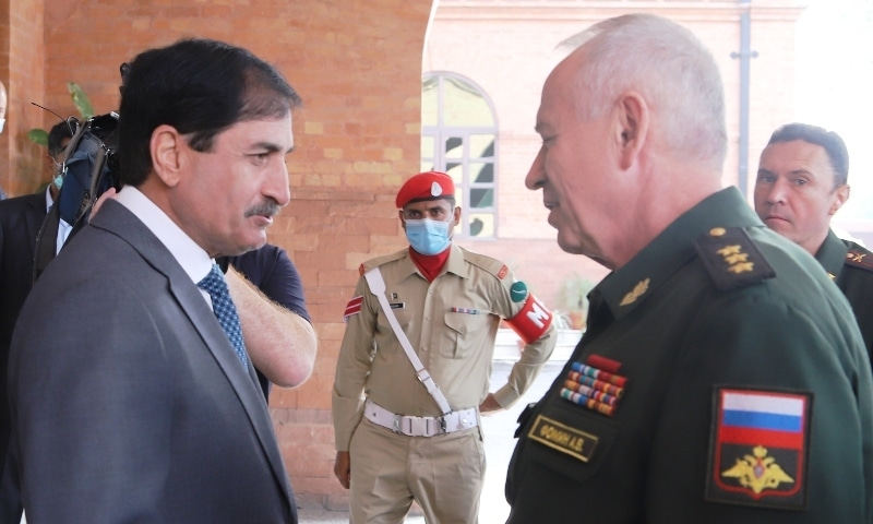 Defence Secretary retired Lt Gen Mian Mohammad Hilal Hussain (left) shakes hands with  Russian Deputy Defence Minister Col Gen Alexander V. Fomin (right) at the Ministry of Defence on September 29. — Photo courtesy: PID