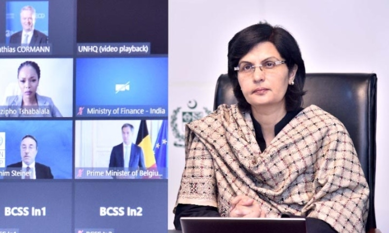 Senator Sania Nishtar joins a UNGA side meeting on social protection on September 29. — Photo courtesy: PID