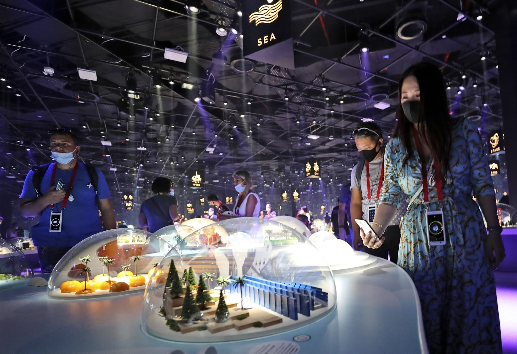 People visit an interior exhibition at the Japan pavilion during the first day of the Dubai Expo 2020. — AP