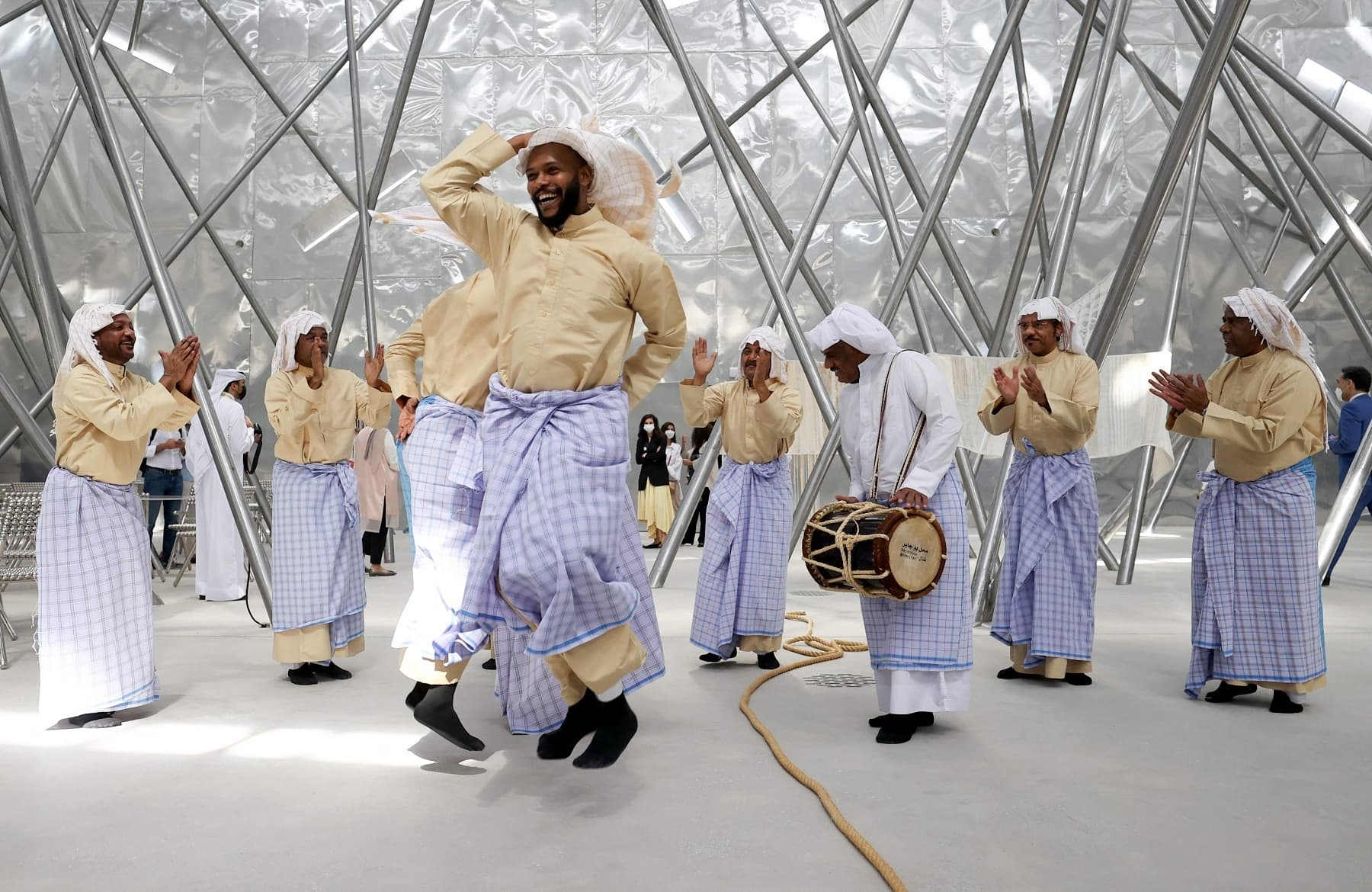 Dancers perform during the opening ceremony of the Bahraini pavilion at the Expo 2020. — AFP
