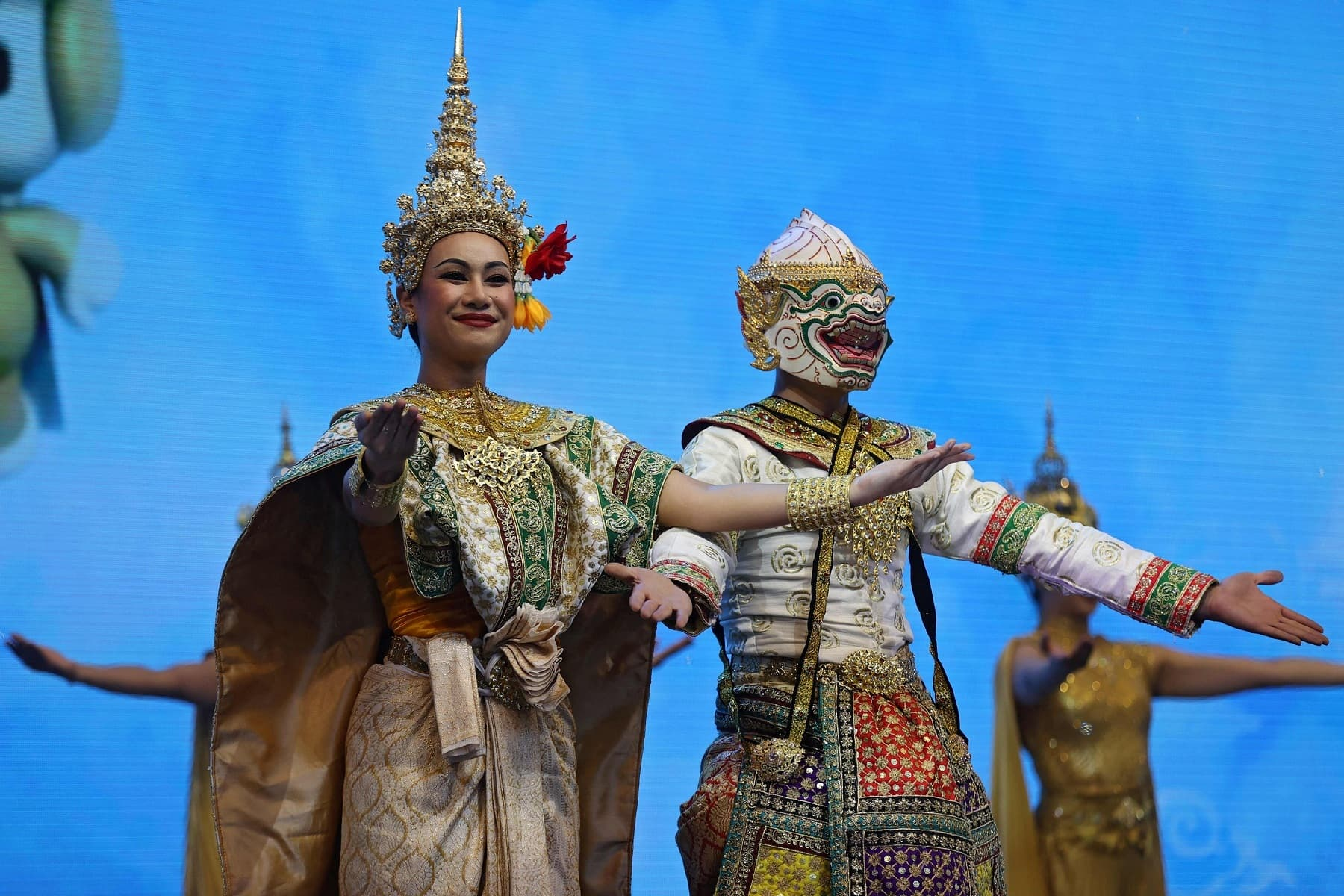 Dancers from Thailand perform in front of the Thai Pavilion at the Expo 2020. — AFP