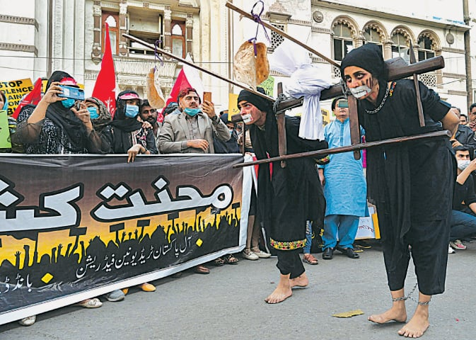 Activists stage a performance in Lahore on International Women's Day | Arif Ali/White Star