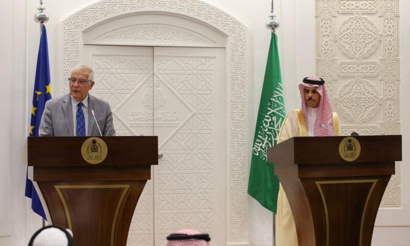 EU foreign policy chief Josep Borrell and Saudi Arabia's Foreign Minister Faisal bin Farhan Al-Saud hold a joint news conference in Riyadh, Saudi Arabia, October 3. — Reuters