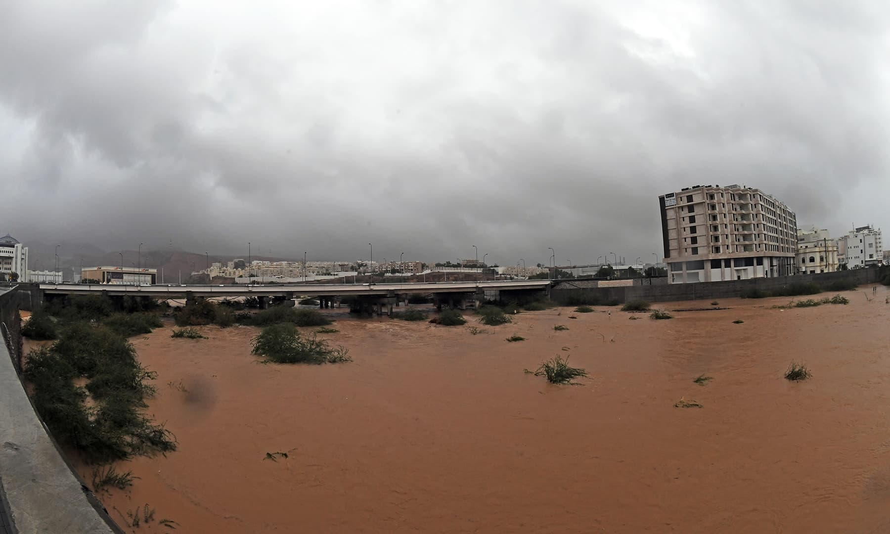 Streets are flooded as Cyclone Shaheen makes the landfall in Muscat, Oman, October 3. — Oman News Agency via Reuters