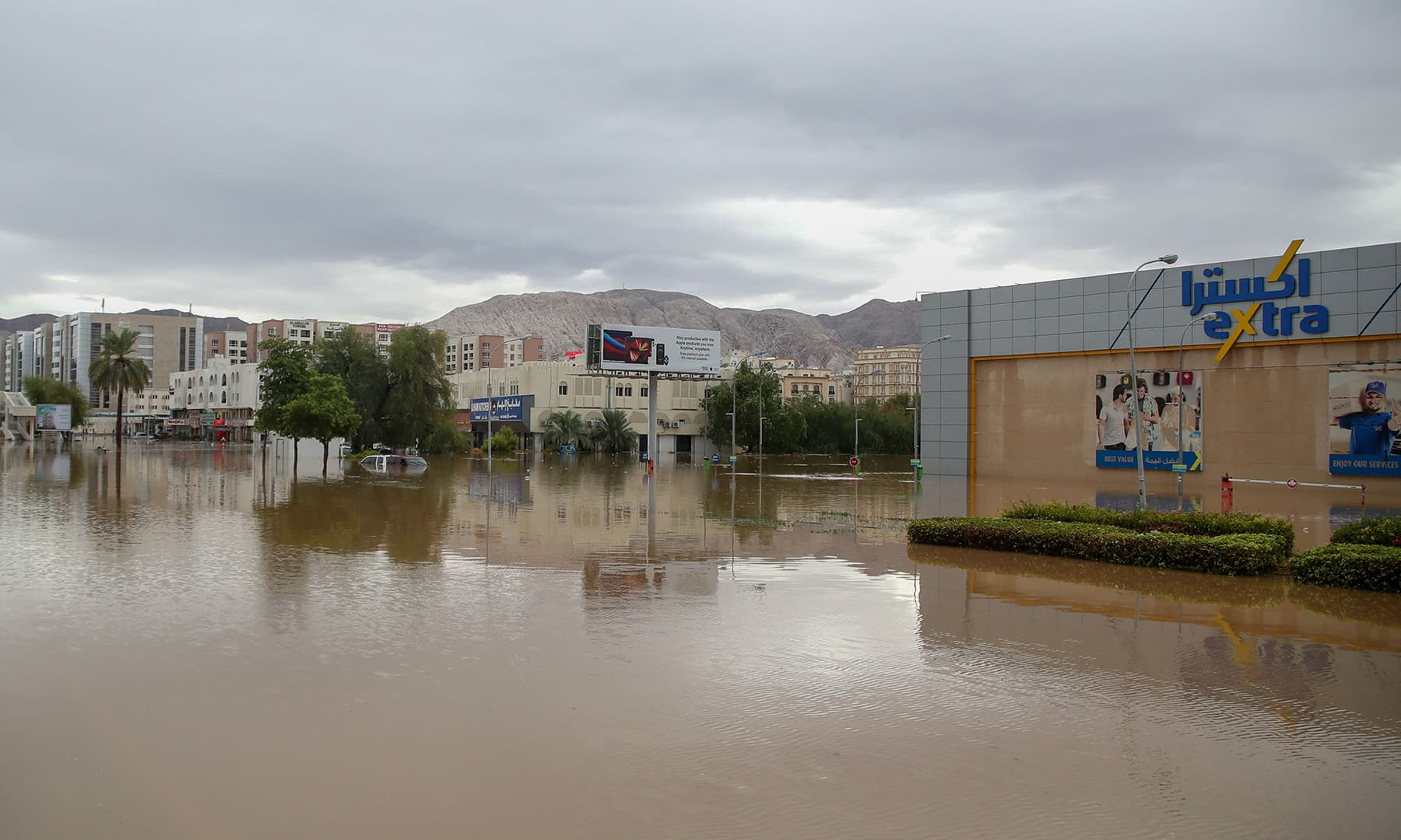 A general view shows a flooded street amid Cyclone Shaheen in Oman's capital Muscat on October 3. — AFP