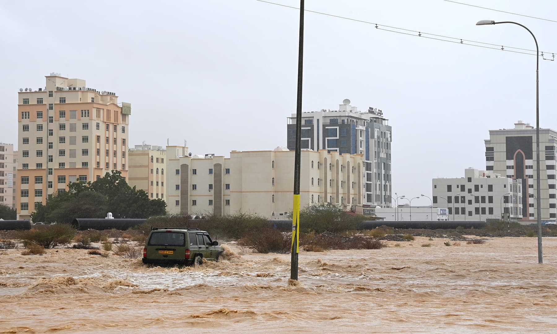Flooded streets are seen as Cyclone Shaheen makes landfall in Muscat, Oman, October 3. — Reuters