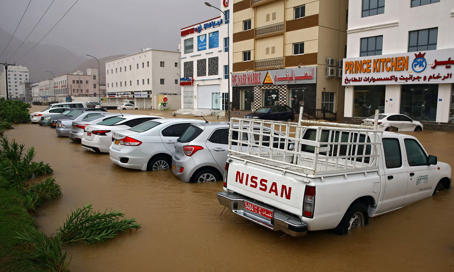 A picture taken on Sunday shows flooding in the Omani capital Muscat, as Cyclone Shaheen hits the country. — AFP