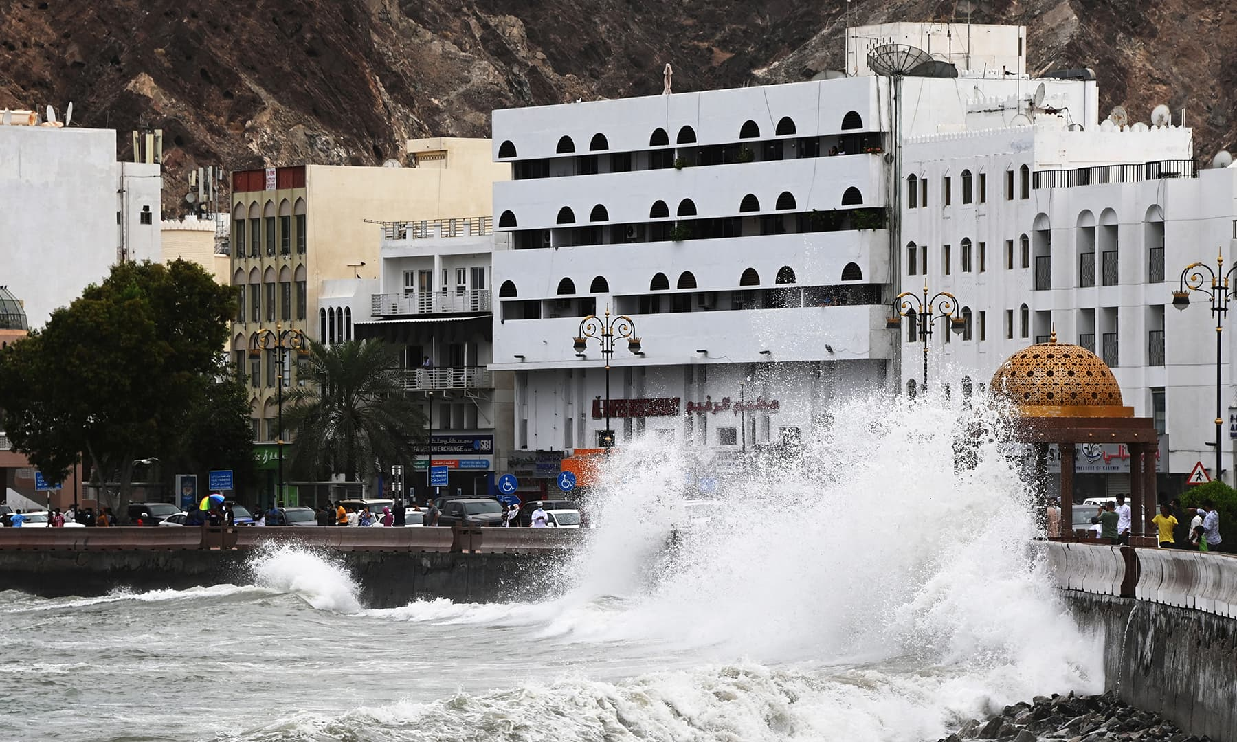 Strong waves hit the shore as Cyclone Shaheen makes landfall in Muscat, Oman, October 2. — Reuters
