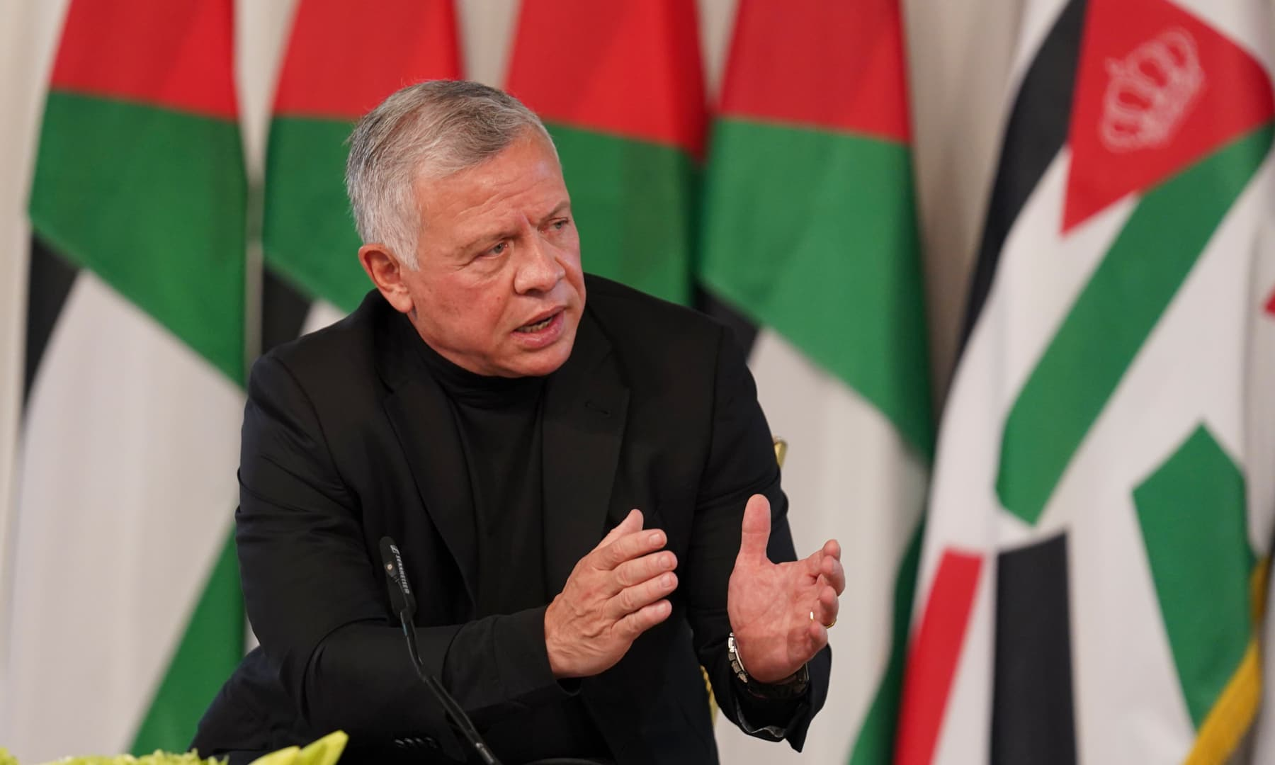 Jordan's King Abdullah II speaks during a meeting with a tribal leader in Al Qasta, south of Amman, Jordan on October 4, 2021. — AP