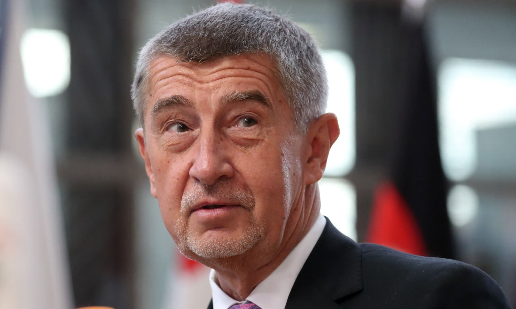 Czech Republic's Prime Minister Andrej Babis addresses media representatives as he arrives for the second day of a special European Council summit in Brussels, Belgium on February 21, 2020. — AFP/File