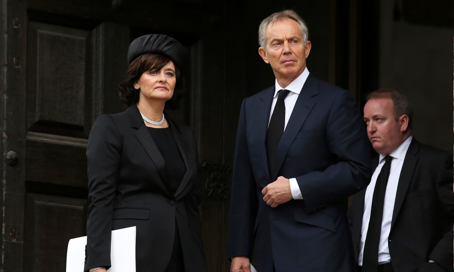 Former British prime minister Tony Blair and his wife Cherie Blair leave the ceremonial funeral of former British prime minister Baroness Thatcher in St Paul's Cathedral in London, UK on April 17, 2013. — AP/File
