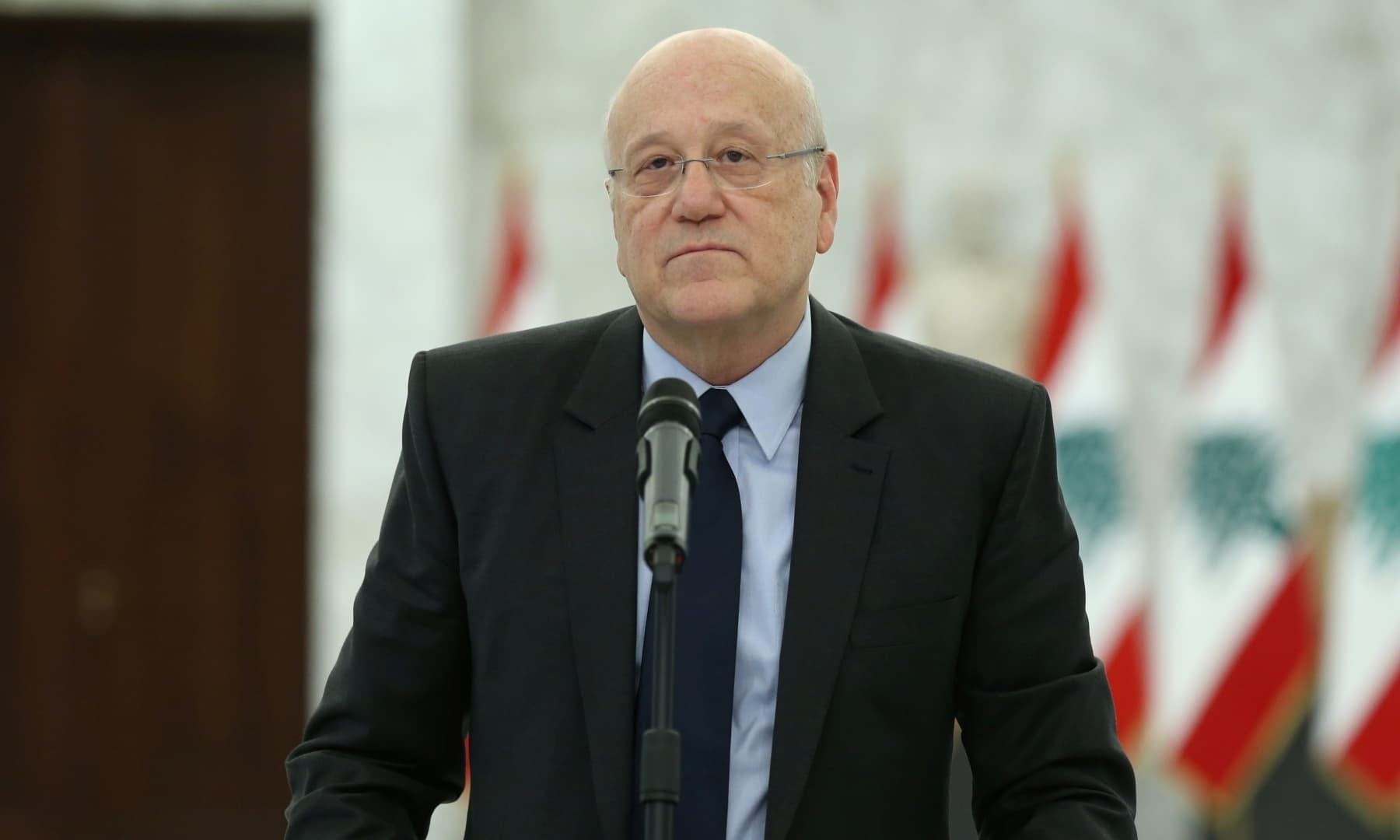 Lebanon's Prime Minister-Designate Najib Mikati speaks after meeting with Lebanon's President Michel Aoun, at the presidential palace in Baabda, Lebanon on August 16, 2021. — Reuters/File