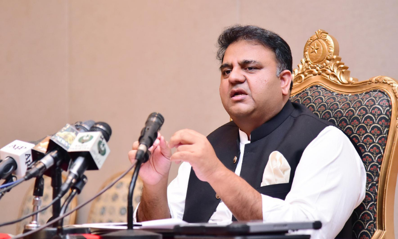 Information Minister Fawad Chaudhry addresses a post-cabinet meeting in Islamabad on Tuesday. — PID