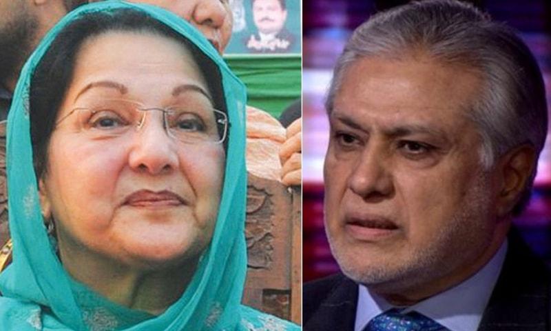 A combination photo of Kulsoom Nawaz and former finance minister Ishaq Dar (R). Dawn/Photo courtesy BBC