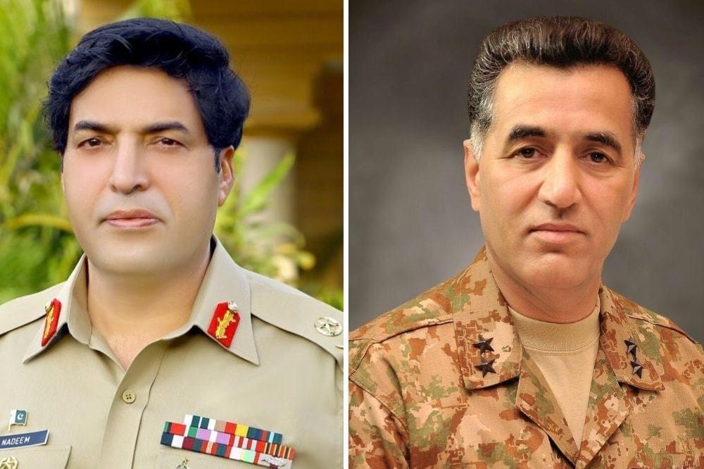 New ISI chief Lt Gen Nadeem Anjum (L) and Lt Gen Faiz Hameed. — Photo courtesy ISPR/File