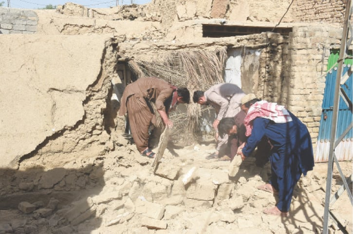 A destroyed house in Babu Mohallah, Harnai.