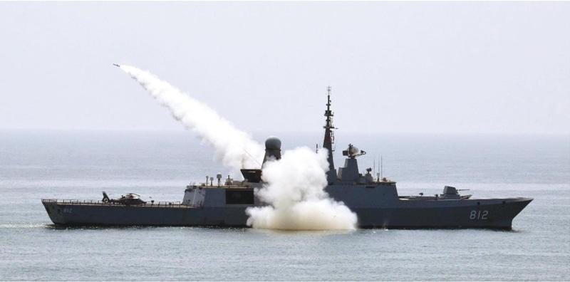 KARACHI: Saudi naval ship HMS Al-Riyadh demonstrates its firepower in the northern Arabian Sea during Exercise Naseem Al Bahr-XIII on Thursday. — PPI