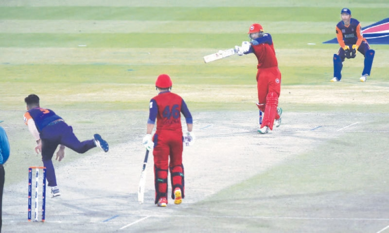 LAHORE: Northern opener Ali Imran goes for another big hit during his whirlwind half-century against Central Punjab in the National T20 Cup match at the Gaddafi Stadium on Friday. — M. Arif/White Star