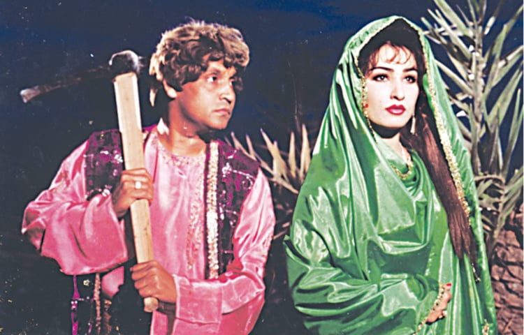 Umer Sharif and Reema in a Lollywood production