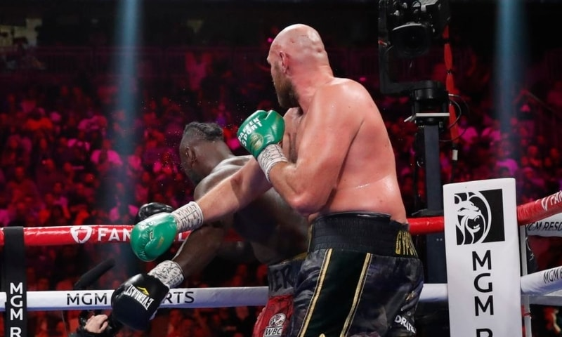 Tyson Fury knocks down Deontay Wilder for the WBC Heavyweight Title at the T-Mobile Arena, Las Vegas, Nevada, US on October 9. — Reuters