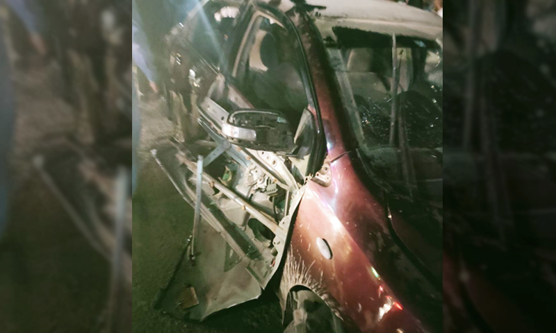 A view of the aftermath of the explosion near the car in which Shahid Zehri was travelling. — File photo