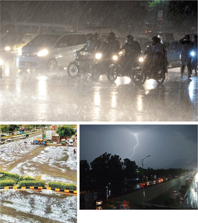 (Clockwise from top) Vehicles stop at a signal on Faisal Avenue during heavy rain, a lightning bolt flashes in the sky in Islamabad and hailstones seen on G.T. Road near Wah on Sunday. — Photos by Mohammad Asim & Amjad Iqbal