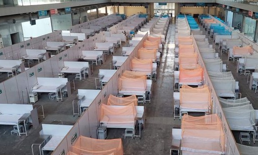 The Punjab government has opened a 280-bed dengue field hospital at Expo Centre in Lahore. — Photo courtesy: Radio Pakistan